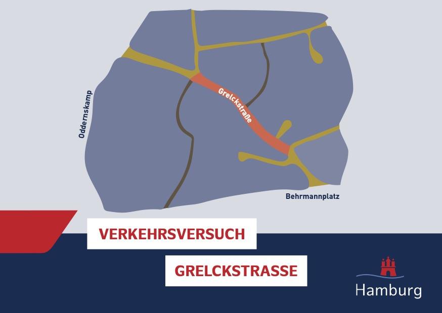 Infostände zum Verkehrsversuch Grelckstraße